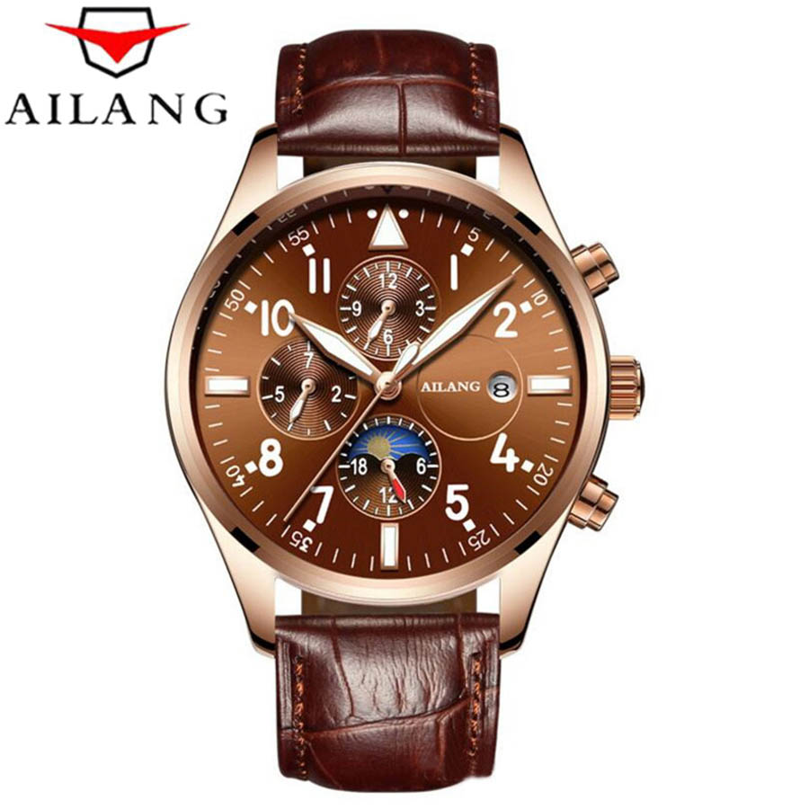 AILANG Automatic Mechanical Men Watches Top Brand Luxury Waterproof date Calendar Moon Leather Wristwatch Relogio Masculino billy s band концерт на крыше roof music fest