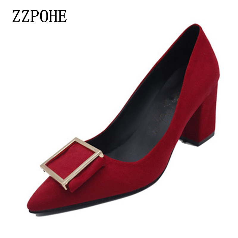 цены  ZZPOHE 2017 spring autumn Women Pumps shallow mouth sweet Ladies fashion shoes Woman Thick High Heels Shoes Female Working Shoes