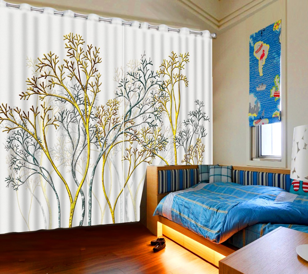 Classic Home Decor 3D Curtain Window Curtain Living Room Retro Background Colored Trees Blackout Shade Window CurtainsClassic Home Decor 3D Curtain Window Curtain Living Room Retro Background Colored Trees Blackout Shade Window Curtains