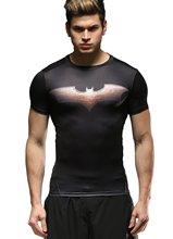 Red Plume  Men's Sports Training Fitness T-shirt, Men Batman Compression  Short Sleeve Shirt