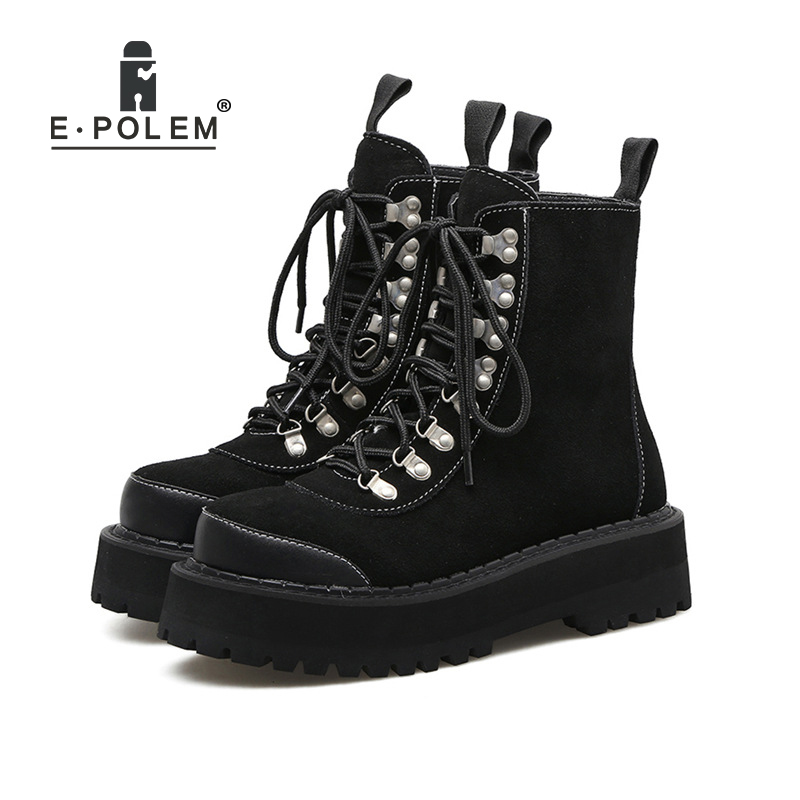 Suede Punk Boots Women Mid-Calf Motorcycle Platform Plat Thick Sole Ankle Boots Female Rivets Martin Booties Girls Rock Shoes double buckle cross straps mid calf boots
