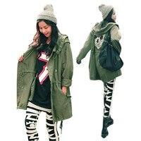 새로운 핫! 여성 위로 해골 군대 녹색 재킷 느슨한 후드 코트 착실히 보내다 ZT2