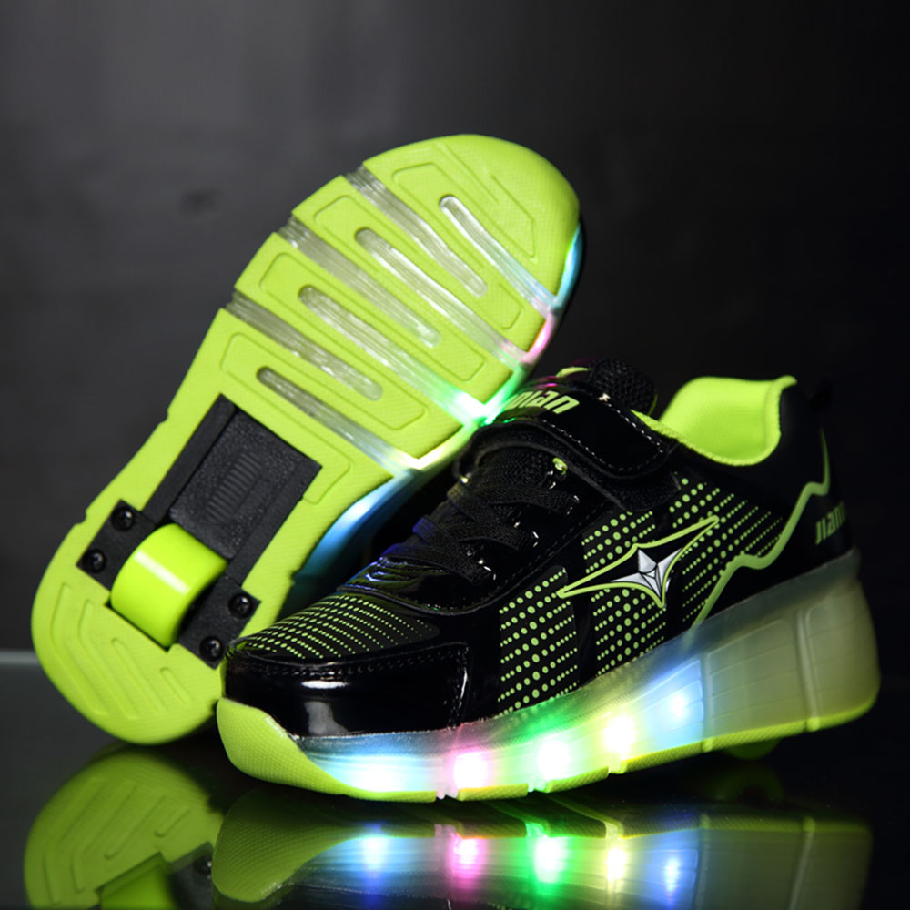 Fashion Glowing Sneakers with Wheels Kids Shoes 2018 Children Roller Skate  Shoes Led Light Up for eb41415d843e