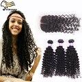 Дешевые бразильские вьющиеся волосы с закрытием 3 шт. много человеческих волос пучки с закрытием бесплатный ближний 3 часть шнурок с пучки