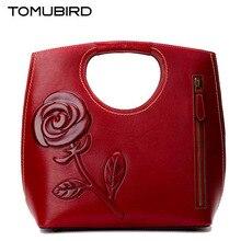 Tomubird 2017 nuevo superior rose en relieve de cuero de vaca famosa marca mujeres bolso de cuero genuino de la manera bolsos de mano