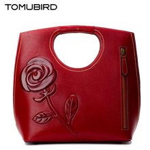 TOMUBIRD 2017 new Superior cowhide leather rose embossed famous brand women bag fashion genuine leather handbags Tote