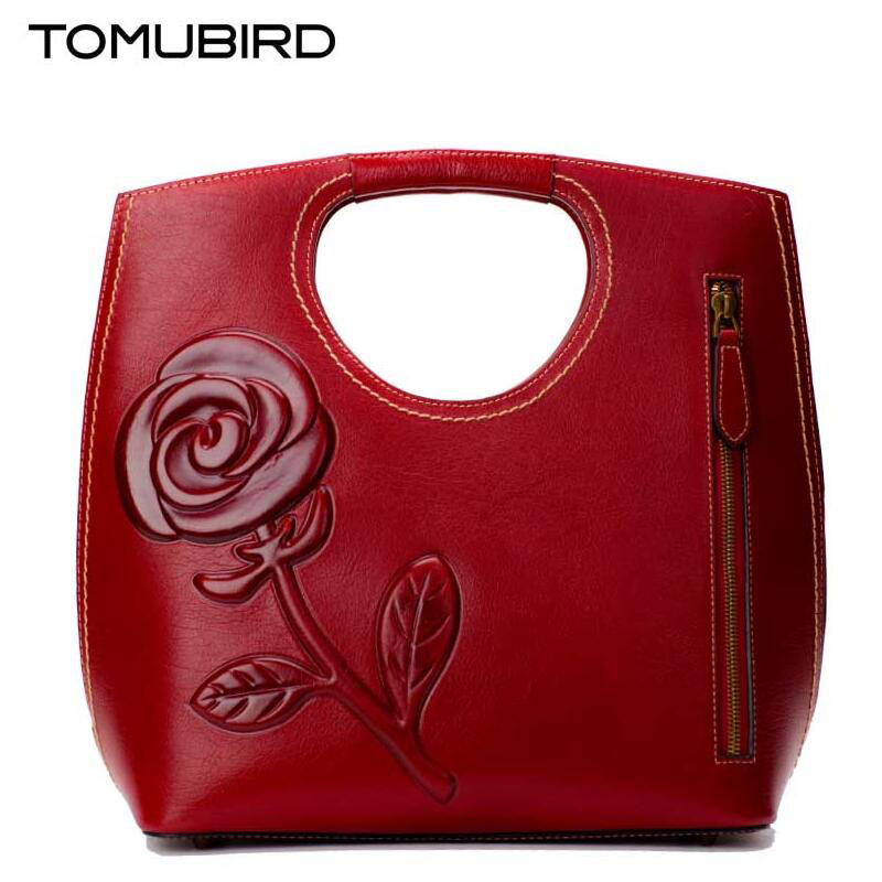 TOMUBIRD 2017 new Superior cowhide leather rose embossed famous brand women bag fashion genuine leather handbags Tote tomubird 2017 new superior leather retro embossed designer famous brand women bag genuine leather tote handbags shoulder bag