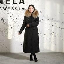 2019 Women Warm Real Fox Fur Coat Jacket Raccoon Fur Collar Natural Parkas Rabbit Fur Liner Coat Parkas Long Outerwear цены онлайн