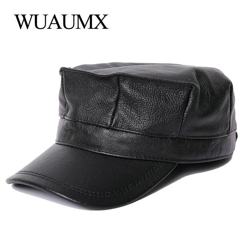 Wuaumx Cowskin militares sombreros hombres mujeres con orejeras gorra de  béisbol superior plana cuero genuino Newsboy 543db4538a8