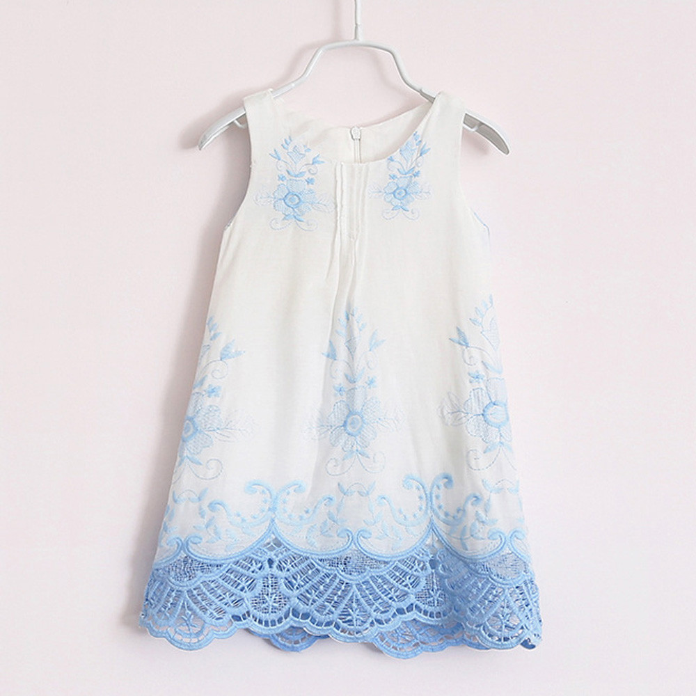 Children's Clothing Baby Girl Princess Dress Lace Sleeveless Flower Embroidery Design Girls Dress For Girls Clothes T#
