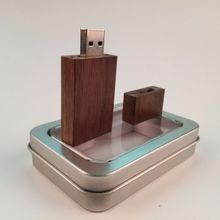Natural Wooden walnut Square usb 2.0 memory flash stick pen drive with metal packing