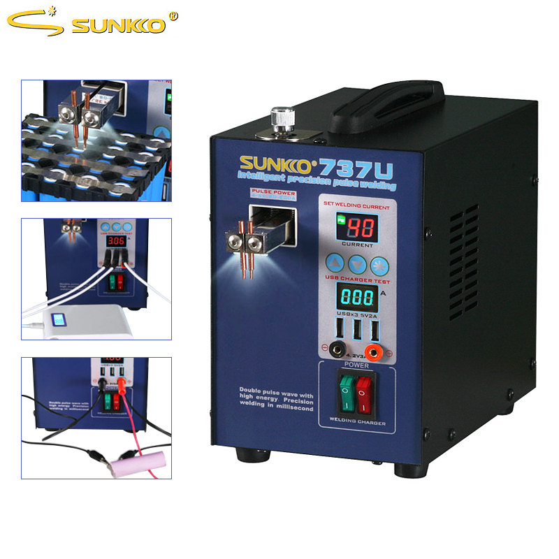 SUNKKO 737U Spot Welder 2.8KW Precision Pulse Battery Spot Welding Machine USB Charging Testing for 18650 Batteries Pack WeldingSUNKKO 737U Spot Welder 2.8KW Precision Pulse Battery Spot Welding Machine USB Charging Testing for 18650 Batteries Pack Welding