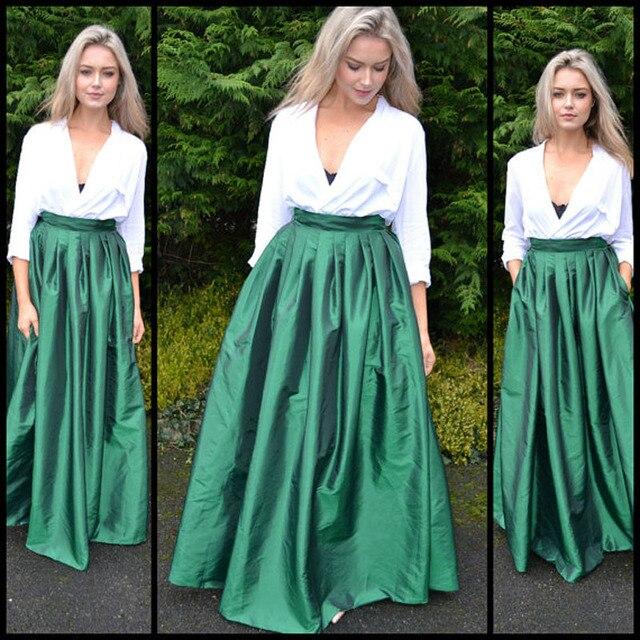 a40845ec54 Verde esmeralda mujeres Falda larga alta cintura piso longitud elegante  Maxi falda con bolsillos moda femenina