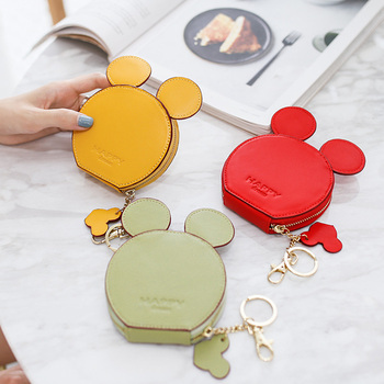 Arsmundi Women Coin Purse Cartoon Cute Mickey Mini Key Holder Change Purse for Girls Leather Zipper Small Coin Storage Bag Pouch etya women coin purse cartoon cute headset bag small change purse wallet pouch bag for kids gift mini zipper coin storage bag