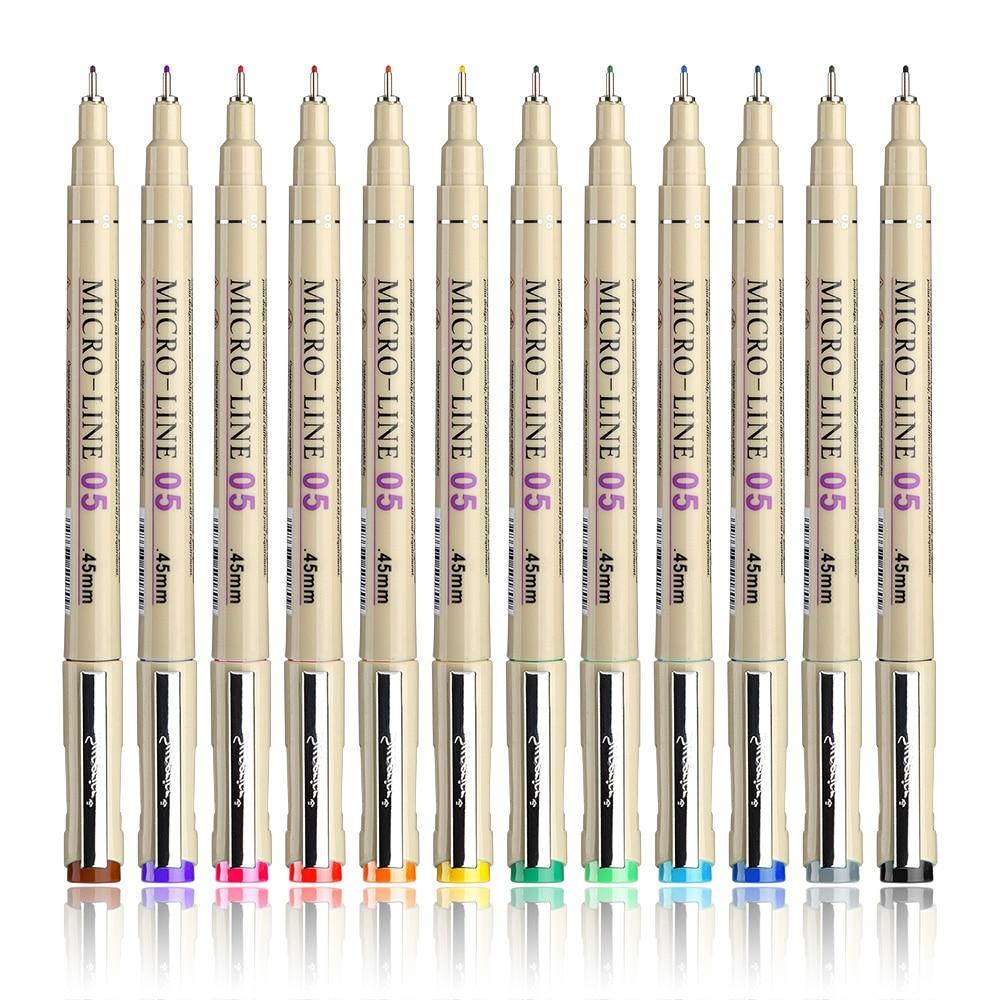 Drawing Fiber Needles Fine Liner Pen Sketch Pen 12 Colors 0.5mm Point for Designer Architect Artist 24 colors fine liner pen 35 holes pencil
