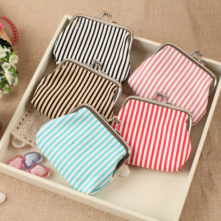 Striped coin purse!Women fashion Hasp coin bag,zero wallet,Female change purse in the pocket,ladies Key/coin bag pouch wholesale striped pu zero wallet japanese mascot kumamon coin purse with interior zipper pocket