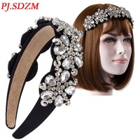 Rhinestone Women Fashion Wide Headband Floral Crystal Chic All Match Ladies Hair Accessory Elegant Bridal Hair Decoration FS0013