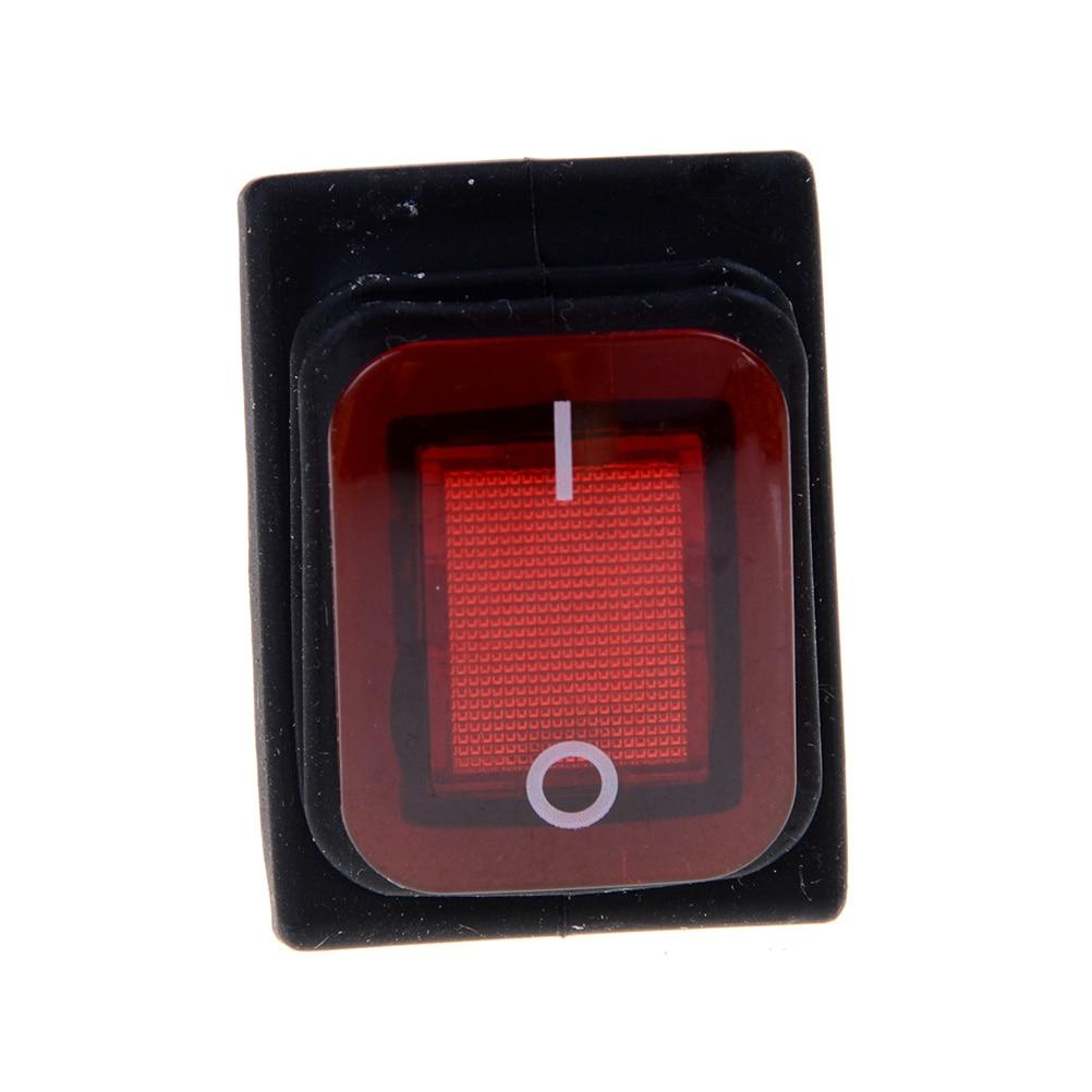 Yüksek kalite 1 adet su geçirmez kilitleme Rocker geçiş anahtarı, kırmızı 4Pin 2 pozisyon AC250V/16A AC125V/20A