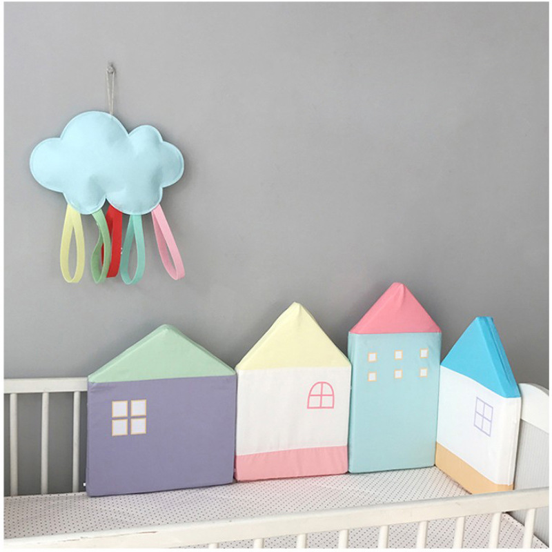 INS Nordic Colored 4pcs Baby Bed Bumper Little House Pattern Crib Protection Infant Cot Newborn Bedding Baby Bed Bedding