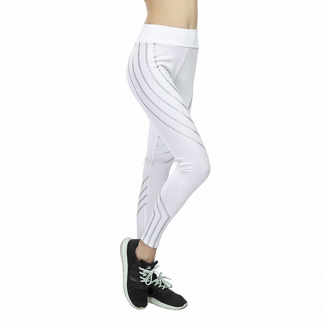 Plus Size XXXL Laser Reflective Legging Women'S Yoga-Pants Big-Girl Sport Fitness Leggings Tranining Running Joggers Sweatpants 2