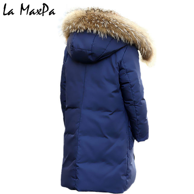 -30 Degree High Quality Boy's clothing Children winter Down jacket for boys parka real Natural Fur hood Long Coat Kids Clothes цена 2017