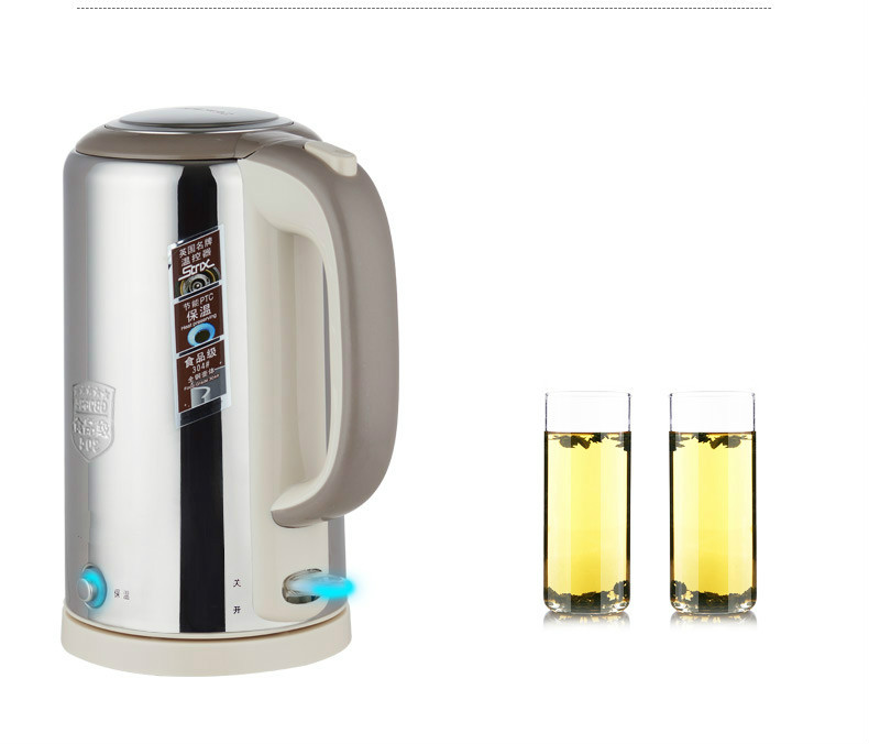 лучшая цена All-steel electric kettle food grade 304 stainless steel insulated tea boiling water Safety Auto-Off Function