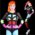 #2001 Moda trajes de dança Hip hop Neon corante figurinos para os cantores de Alto-elástico macacão traje Bodysuit