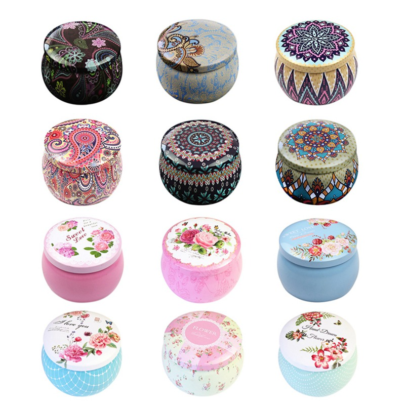 Small Fresh Personality Candy Box Drum-shaped Candy Cookie Box Rose Tea Pot Tin Box Festive Party Supplies Household Storage