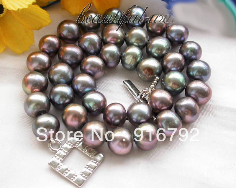 free shipping >>>>>17 12mm Black round freshwater pearl cultured necklace 50 12mm round black freshwater cultured pearl necklace