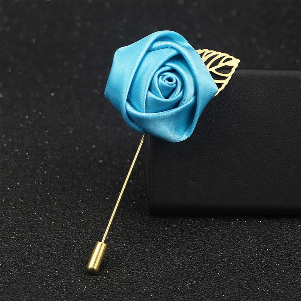 ผู้ชายชุดดอกไม้เข็มกลัด Pins ผ้าริบบิ้น Tie PIN 19 สีดอกไม้เข็มกลัดสำหรับผู้หญิง Lapel PIN ชุดอุปกรณ์เสริม