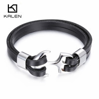 Kalen New Men S Leather Bracelets Fashion 316 Stainless Steel Anchor Charm Personalised Bracelet For Small