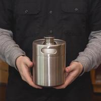 304 Stainless Steel 2L 64oz Mini Beer Bottle Barrels Keg Screw Cap Homebrew Wine Barware
