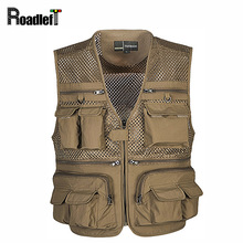 Men multi pocket vest Men's military army sleeveless jacket waistcoat Men journalist vest