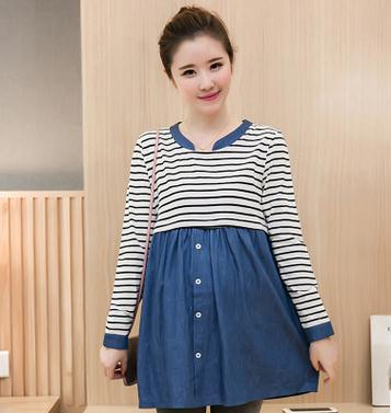 2017 Striped Denim Cotton Nursing Dress Spring Autumn Maternity Long Breast Feeding Clot ...