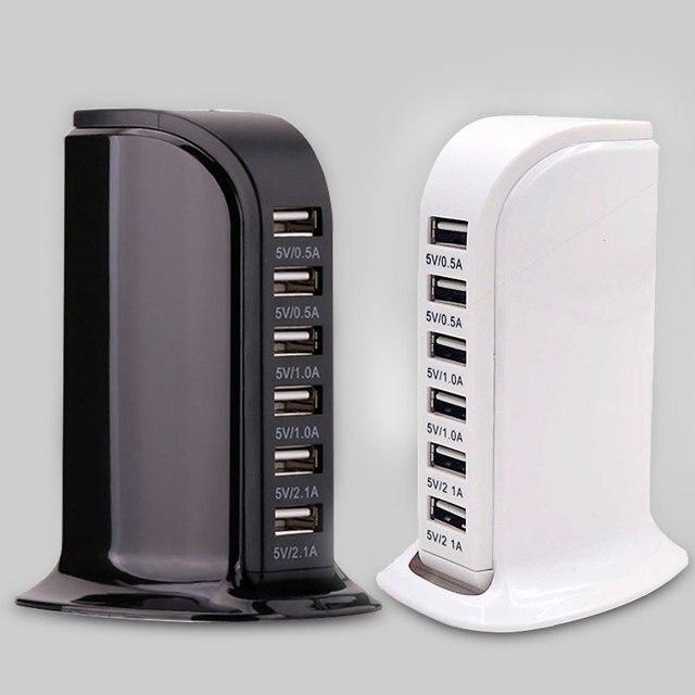 شاحن usb متعدد الاستخدامات لهواتف آيفون وسامسونج 6 منافذ usb محطة شحن للكمبيوتر اللوحي شاحن سفر محمول بمقبس الاتحاد الأوروبي والولايات المتحدة والمملكة المتحدة