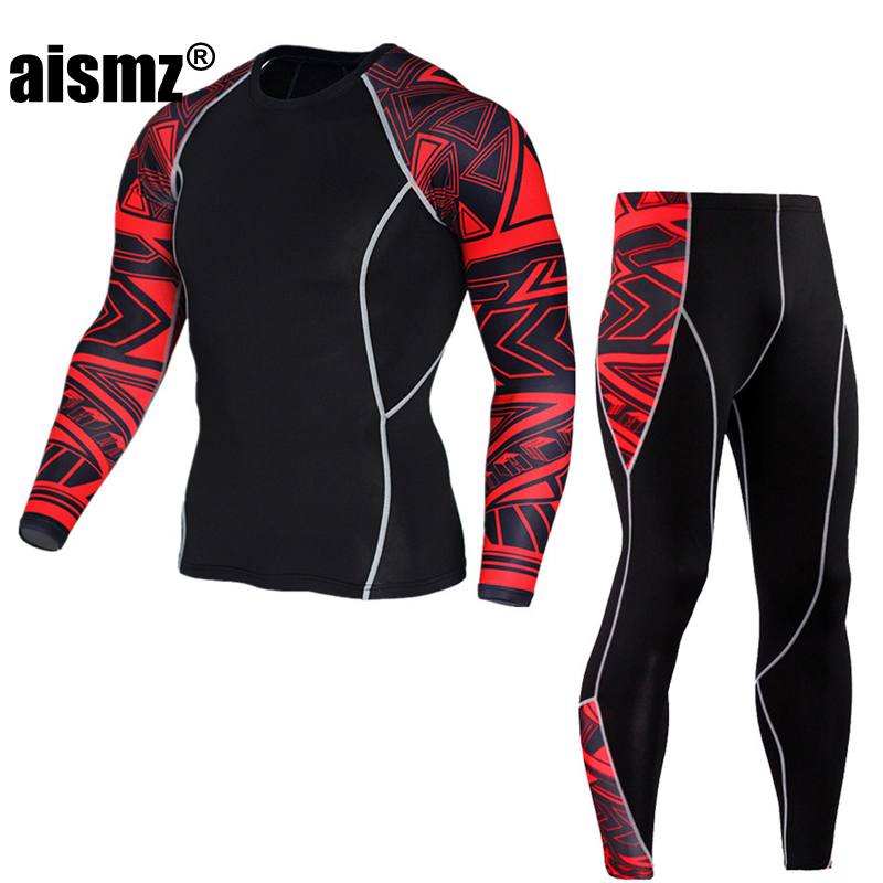 Aismz Top quality new thermal underwear men underwear sets compression sweat quick drying thermo underwear men clothing