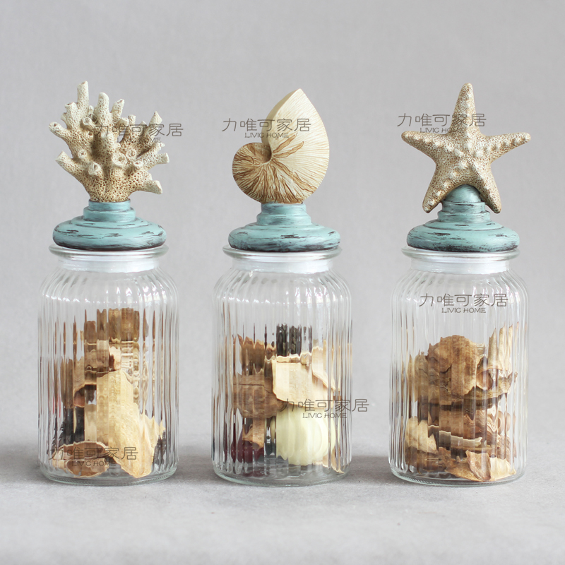 aliexpresscom buy american conch coral starfish transparent glass candy jar canister sets of three decorative jars glass jars sealed cans from reliable - Decorative Jars