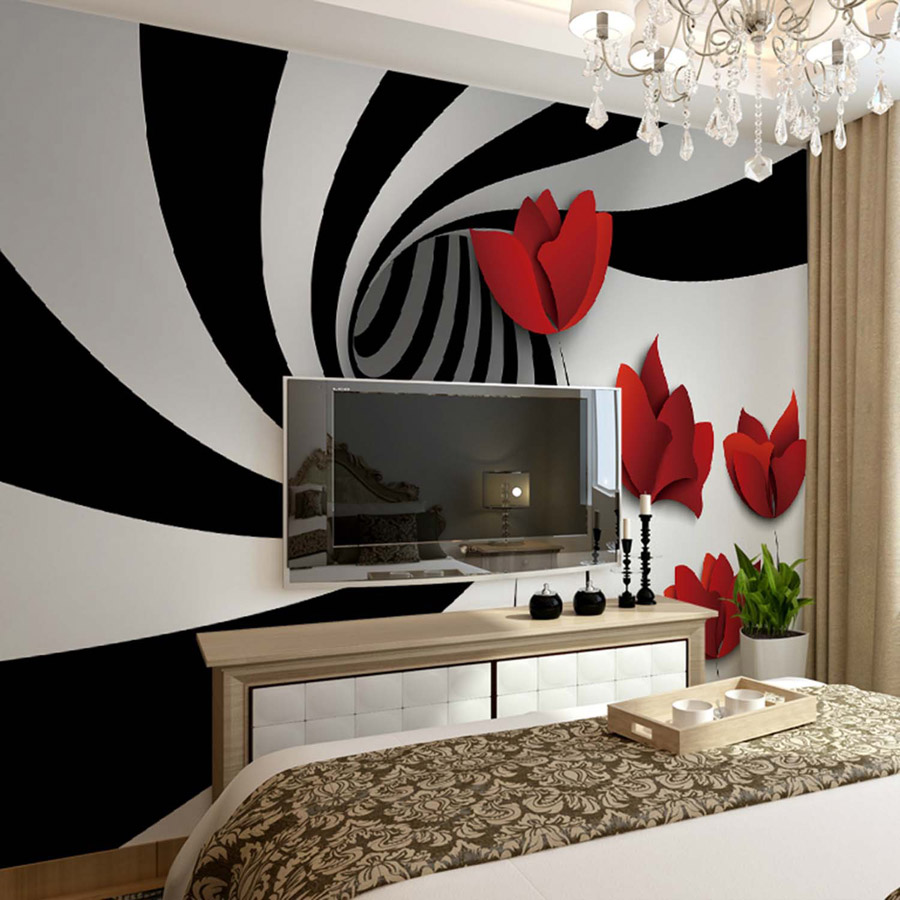 Shinehome 3d abstract red rose on zebra pattern room for Rote tapete