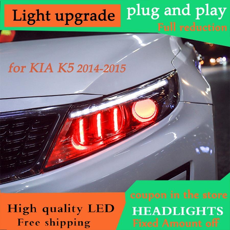 D YL Car Styling for Kia K5 Rio Headlights 2014 2015 Korea Design K5 LED Headlight