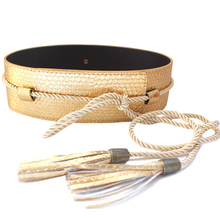 Hot Sale Fashion Belts for women clothing PU Leather belt female Wide tassel strap Gold waistband Woman High quality Wholesale