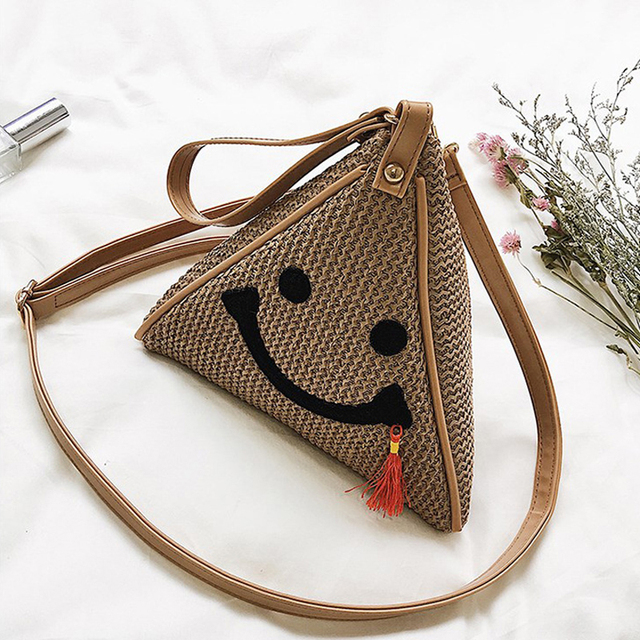 2017 Women Clutch Knitted Bags Triangular Zipper Bag Ladies Purse Party  Bags High Quality Straw Cute