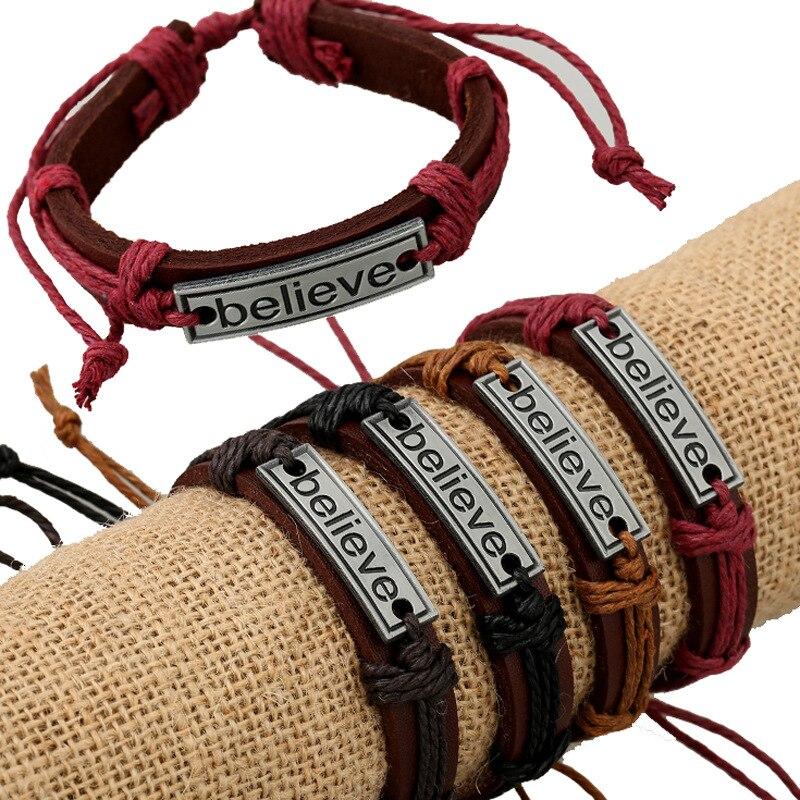 Believe Casual Handmade Woven Vintage Woven Charm Brown Genuine Leather Bracelets Men Women Jewelry Wholesale Accessories