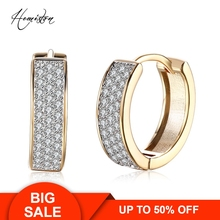 Brand Creative Full Paved Clear CZ Creole Earring, Yellow Gold Plated European Romantic Jewelry Gift For Women TF 135E