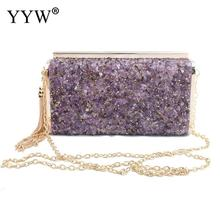 Purple New Arrival Metal Tassel Lady Metal Clutch Bag With Chain Shoulder Handbags Wedding Small Purse Day Evening Clutch Bags retro purple fashion ladies purse small day clutch chain bag shoulder bag dinner handbags female wedding clutch evening bags