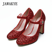 JAWAKYE Pumps Women Shoes Red Bling Bling Squines ankle Buckle Wedding Party Shoes Chunky high Heels Woman High Heels Pump