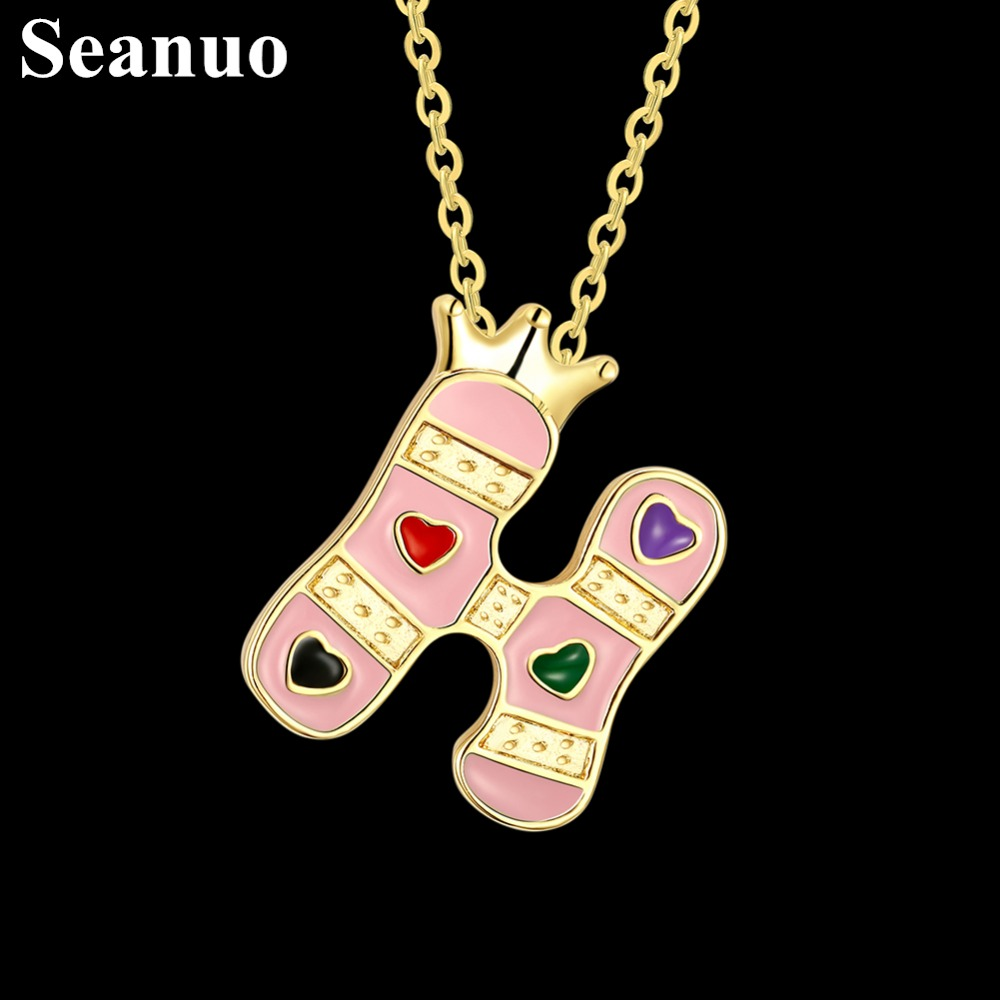 Seanuo 14 Shapes Light Yellow Gold Color H Letter Chunky Necklace For Women  Fashion Infinity Love