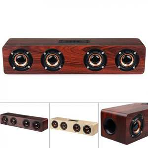 Bluetooth-Speaker Connection Playback 4horns Wooden Wireless 1 AUX 12W with Tf-Card And