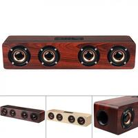 W8 4Horns 12W Wooden Wireless Bluetooth Speaker with TF Card Playback and AUX Wired Connection for Smartphone / PC / Television