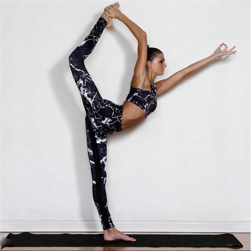 الرياضة البدلة طباعة اللياقة البدنية البدلة طماق تنفس اليوغا مجموعة مثير رياضي امرأة تجريب رياضية رياضية للنساء ملابس الصالة الرياضية