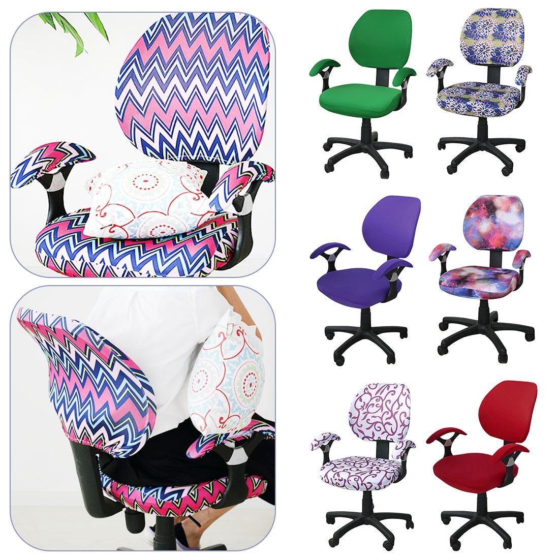 Хорошее качество покрытия для офисных стульев спандекс компьютерное кресло подлокотник крышка с цветочным принтом съемные вращающиеся ра...